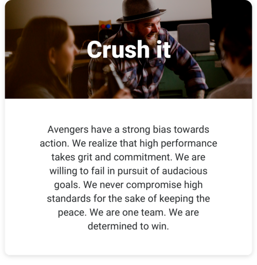 Crush it: Avengers have a strong bias towards action. We realize that high performance takes grit and commitment. We are willing to fail in pursuit of audacious goals. We never compromise high standards for the sake of keeping the peace. We are one team. We are determined to win.