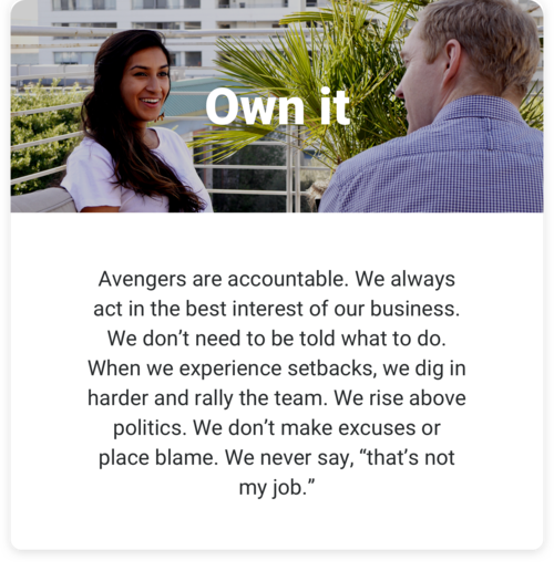 Own it: Avengers are accountable. We always act in the best interest of our business. We don't need to be told what to do. When we experience setbacks, we dig in harder and rally the team. We rise above politics. We don't make excuses or place blame. We never say, 'that's not my job.'
